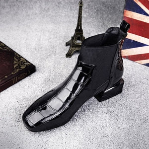 Chic Shiny PU Leather Ankle Boots - ICU SEXY