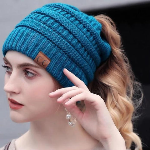 Women's Popular Designer Soft Cable Knitted Ponytail Beanie - icu-sexy
