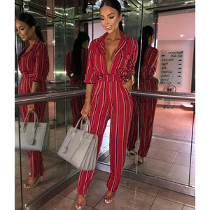 Fashion Striped Half Sleeve Striped Jumpsuit - icu-sexy