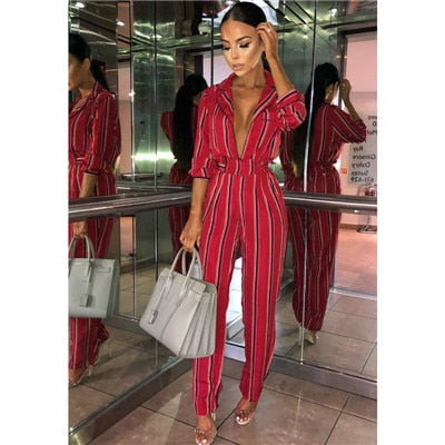 Fashion Striped Half Sleeve Striped Jumpsuit - ICU SEXY