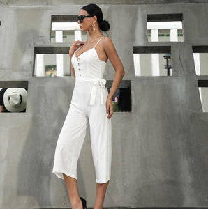 Women Sexy Sleeveless Tank Solid Backless Jumpsuit - ICU SEXY