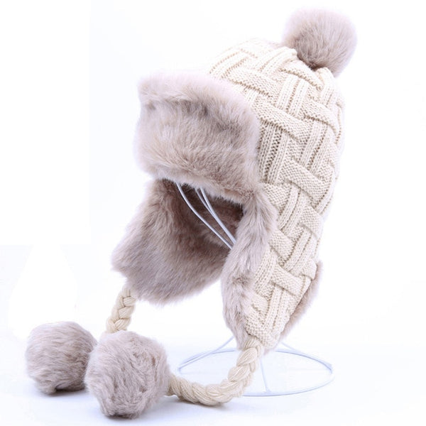 Women Winter Wool Knitted Snow Hats Pom Pom Maple Leaf Trapper Aviator Hat - ICU SEXY