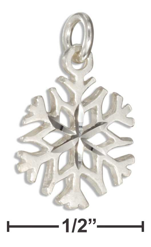 Sterling Silver Small Diamond Cut 4 Point Snowflake Charm - icu-sexy