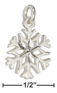 Sterling Silver Small Diamond Cut 4 Point Snowflake Charm - ICU SEXY
