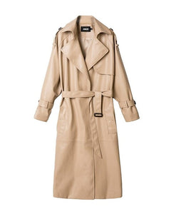 Women's Patent Khaki Leatherette Designer Trench Coat - ICU SEXY