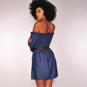 Women Fashion Long Sleeve Off Shoulder Denim Mini Dress - ICU SEXY