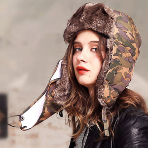New Women's Winter Faux Fur Camouflage Snow Bomber Hats - icu-sexy