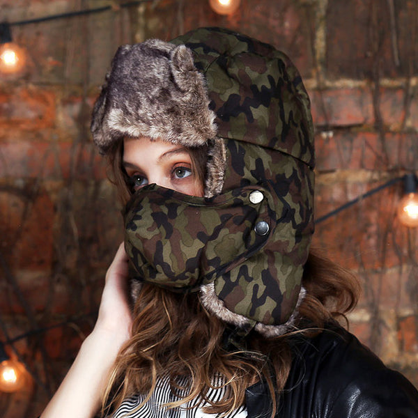 New Women's Winter Faux Fur Camouflage Snow Bomber Hats - ICU SEXY