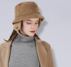 Hot Women's Fashion Thick Lamb Fur Bucket Hat with Ear Protection - icu-sexy