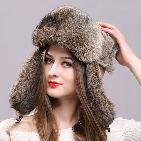 Natural Rabbit Fur Russian Bomber Hat with Ear Flaps Waterproof - icu-sexy