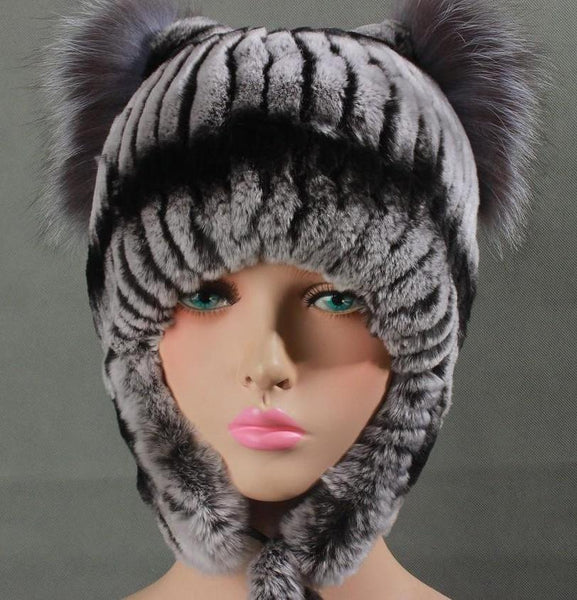 Women's Warm Fur Hats with Ear Protect Genuine Rex Rabbit Fur - ICU SEXY