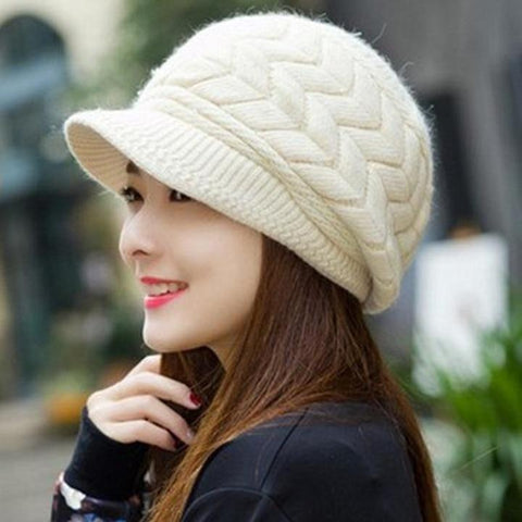 Women's Winter Plush Double Layer Warm Knitted Wool Hat - icu-sexy