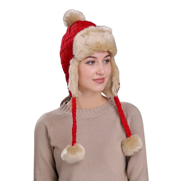Women Winter Fashion Fur Lined Bomber Hats with Ear Flaps - ICU SEXY