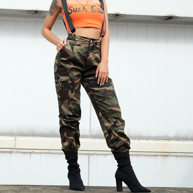 Women's Green Camouflage High Waist Cargo Pocket Overalls - icu-sexy
