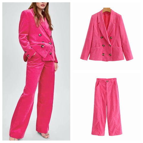 New Pink Corduroy Double Breasted Solid Blazer Jacket & Trouser Suit - ICU SEXY