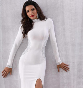 New Women's Winter Bodycon Long Sleeve Beaded Celebrity Evening Party Dresses - icu-sexy