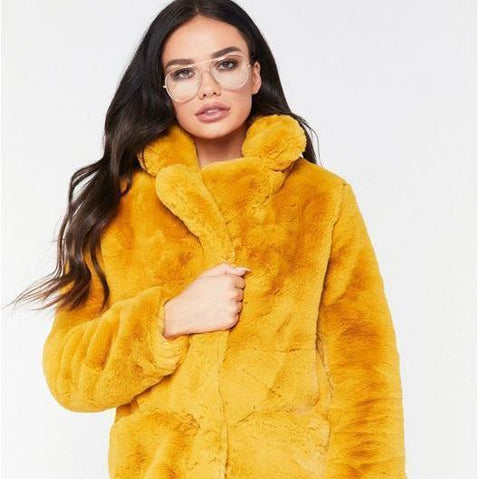 Women's Luxury Brand Celebrity Style Plush Long Thick Fur Soft Teddy Bear Coat