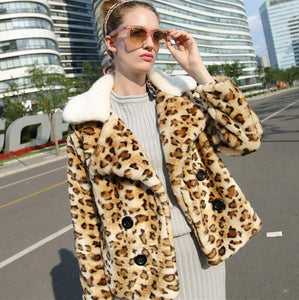 Women's Stylish Soft Leopard Skin Faux Fur Fashion Coat