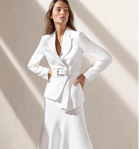 Women's White Asymmetric Skirt Suit w/ Belt+Blazer+Skirt - ICU SEXY