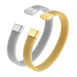 Trendy Silver and Gold Color Stainless Steel Wire Luxury Cuff Bracelet - ICU SEXY
