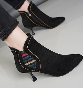 Women's SlipOn Colorful Retro High Heel Ankle Stiletto Boot - ICU SEXY