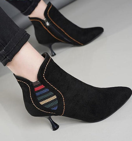 Women's Slip-On Colorful Retro High Heel Ankle Stiletto Boot - icu-sexy