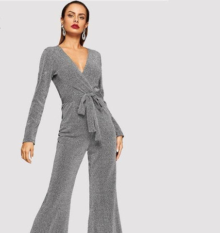 Elegant Grey V-Neck Belted Wrap Flare Party Long Sleeve Glitter Jumpsuit - icu-sexy