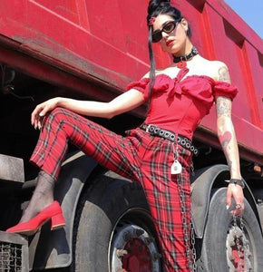 Women's Casual Fashion Red Plaid High Waist Zipper Fly Pants - icu-sexy