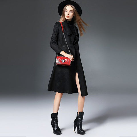 Women's Wide Lapel Solid Black Button Down Trench Coat