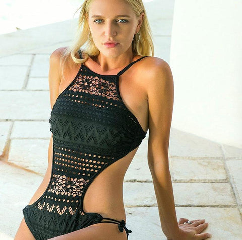 Brand Lace One Piece SwimsuiSexy Push Up Hollow Out  Beachwear Monokini - icu-sexy