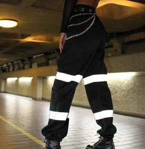 Women's Streetwear Reflective Hip Hop High Waist Cargo Pants - ICU SEXY