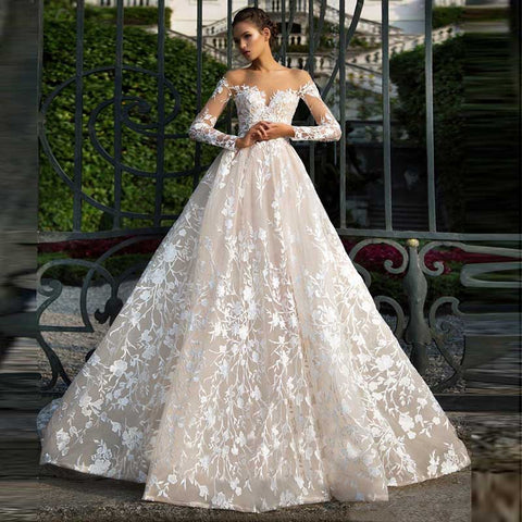 Long Sleeve Off Shoulder Tulle Appliqued Vintage Court Train Floral Lace Wedding Gowns