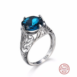 Silver Royal Blue Sapphire CZ September Birthstone Ring - ICU SEXY
