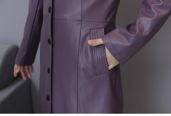 Women's Elegant Leatherette OL Long Bottun Down Trench Coat Plus Size 5XL - ICU SEXY