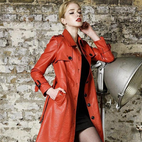 New High Quality Brand Designer Leatherette Slim Long Trench Coat