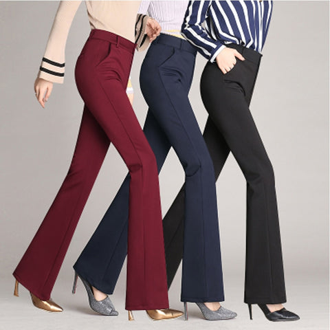 Women's European Style Flare Trousers High Waist Button Fly  Dress Pants - icu-sexy
