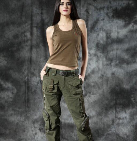 Women Military Army MultiPocket Cargo Pants  Dance Trousers Plus Sizes - ICU SEXY