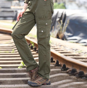 Women Loose Military Style Solid Pocket Cargo Pants - ICU SEXY