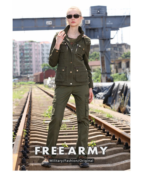 Women Loose Military Style Solid Pocket Cargo Pants - icu-sexy