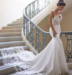 Vintage Style Lace Sweetheart Neckline Backless Mermaid Wedding Dress