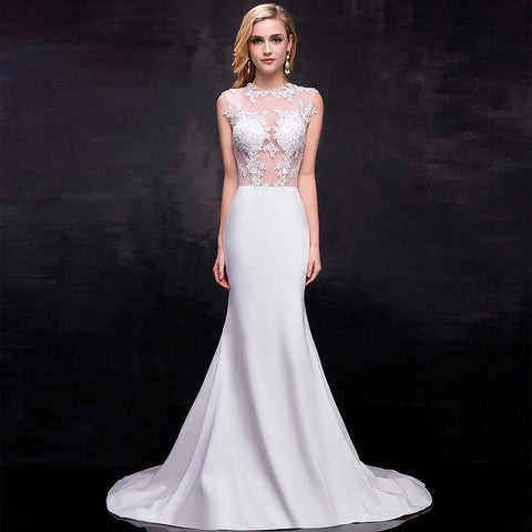 Full Length O Neck Sleeveless Mermaid Wedding Gown With Sweep Train