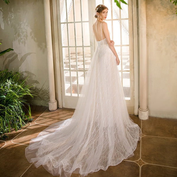 Sexy Spaghetti Straps V Neck Tulle Appliques Bridal Wedding Gown - ICU SEXY