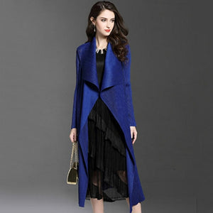 New Women's  Long Pleated Fashion Trench Windbreaker