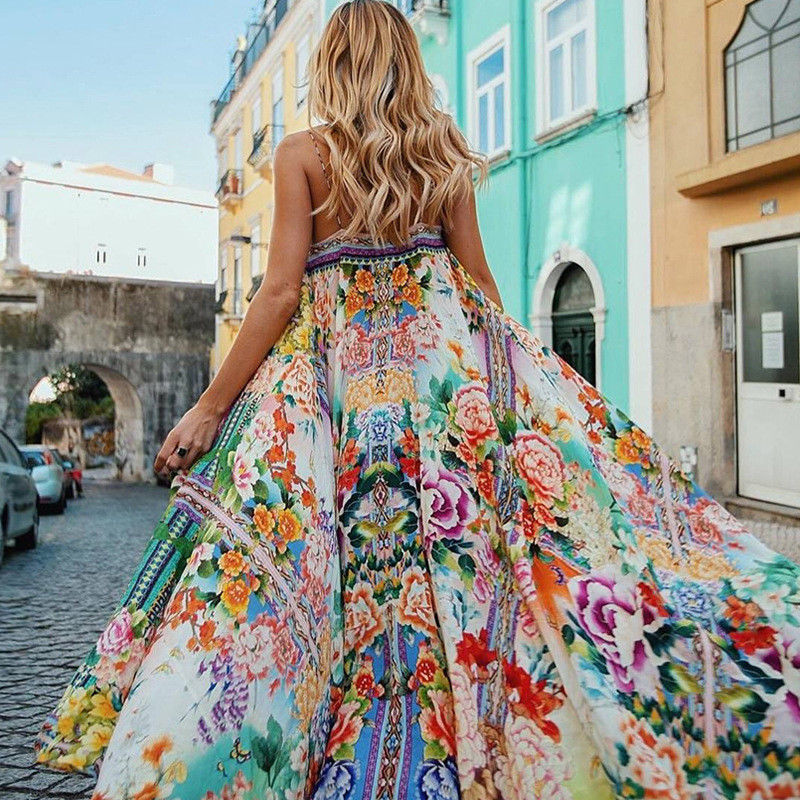 Women's Boho Floral Maxi Long  Dress Summer Beach Evening Party Sundress - ICU SEXY