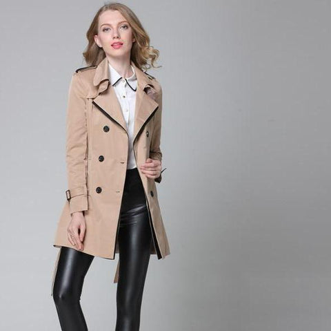 Women's New Color Block Khaki Trench Coat