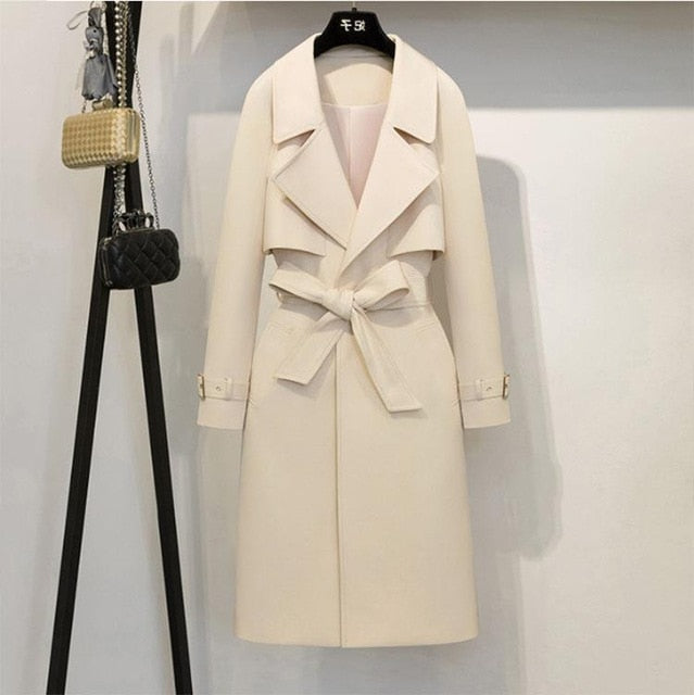 Women's Beige Vogue Buckle Sleeve Designer Trench Coat - ICU SEXY