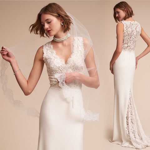 Elegant Straight Lace V-neck Lace Back Wedding Dress | Bridal Gown