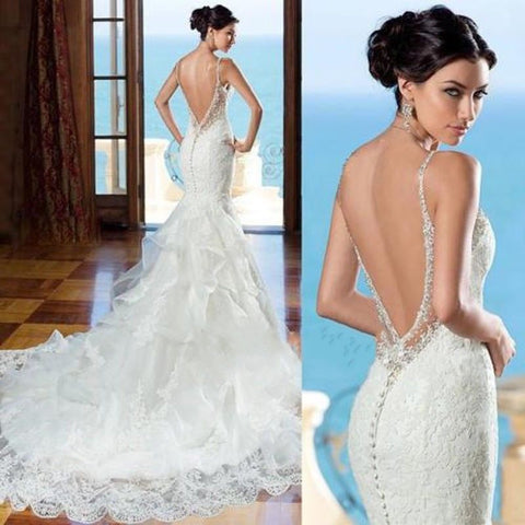 New Lace Mermaid Open Back With Train Appliques Wedding Dress