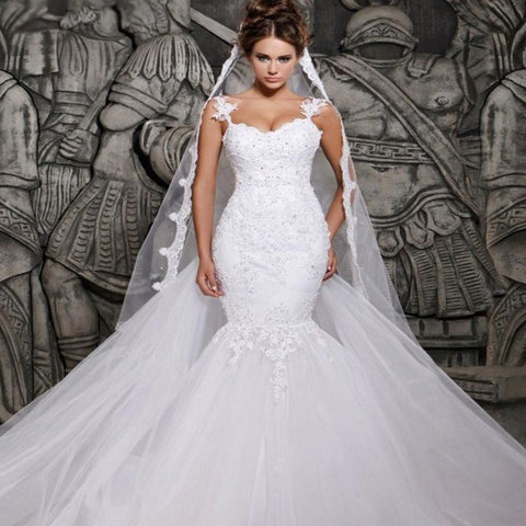 Sexy Illusion Mermaid Spaghetti Appliques Beaded Bridal Gown
