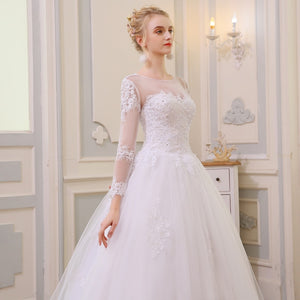 New Princess Elegant A Line Long Sleeve Lace Appliques Beaded Bridal Gown With Train